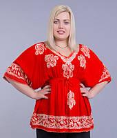 Блузка женская красная на резинке, батал, размер свободный