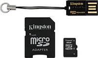 Карта памяти Kingston microSD 8 GB (+ SD адаптер, USB миникардридер)