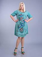 Платье зеленое с цветами, роспись - ручная работа, на 54-58 р-ры