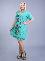 Платье салатовое с цветами, роспись - ручная работа, на 54-58 р-ры