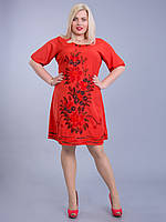 Платье красное с цветами, роспись - ручная работа, на 54-58 р-ры