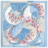 """Платок шелковый Павлопосадский (жаккард) """"Танцующие орхидеи"""" размер 84х84 см. рис.1444-2"""