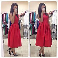 Стильное красное платье из коттона без рукавов со складами