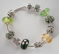 Женский браслет Pandora (Пандора) зелено-желтый