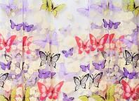 Тюль разноцветные бабочки на белой органзе