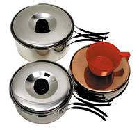 Столовый набор из нержавейки (сковородка, кастрюли, 2 чашки)