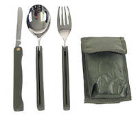 Столовый набор вилка+нож+ложка в чехле