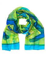 Шарф сине-зеленый, натуральный шелк, производство Индии