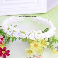 """Обруч """"Венок"""" с цветками белый."""