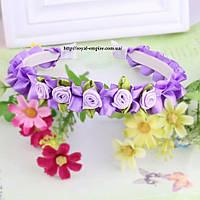 """Обруч """"Венок"""" с цветками фиолетовый."""