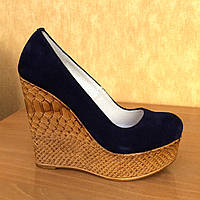 Синие замшевые туфли на высокой платформе