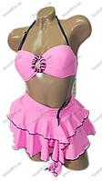 Купальник раздельный бикини с пуш ап и юбочкой - розовый, мятный, синий - 13049