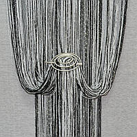 Шторы нити с люрексом радуга черно-белые