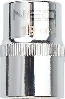 "Головка 08-591 Neo двенадцатигранная короткая 1/2"" 19 мм х 38 мм CrV Spline"
