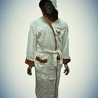 Мужской махровый халат с капюшоном Camel Белый (2XL)