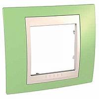 Рамка Schneider-Electric Unica Plus 1-пост хамелеон зеленое яблоко/слоновая кость