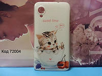 Чехол на Lenovo S720 оригинальная панель накладка с рисунком котик в чашке