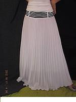 Плиссированная юбка в пол белоснежный шифон, длинная подкладка, кокетка морская золото завяз.