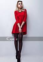 Платье трикотажное красное короткое
