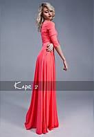 Платье в пол трикотажное кораллового цвета