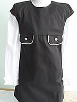 """Школьная форма для девочек """"Алена"""", платье-сарафан черный коттон"""