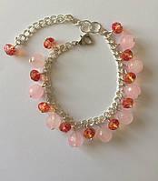 Браслет из натуральных камней розового кварца и бусин хрусталя BD2009