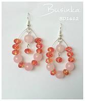 Серьги из натуральных камней розового кварца и хрусталя BD1612