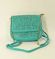 Кружевной клатч -сумочка Valensiy бирюзовый с золотом , перфорация