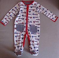 Детская пижама  (человечек) для мальчиков 3-6М 62-68см.