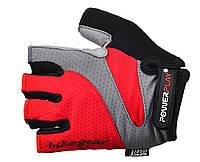 Велоперчатки Power Play с петлями для снятия. Красный