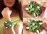 """""""Зелёные орхидеи"""" браслет с цветами из полимерной глины."""