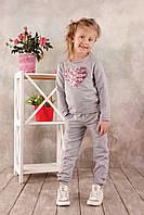 Детские брюки для девочки спортивные (серый меланж) (КАР 03-00570-0)
