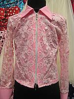 Розовая гипюровая блузочка на девочку