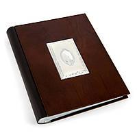 Свадебный альбом для фотографий в деревянной обложке с посеребренными элементами ZYS062