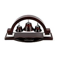 """Набор для рабочего стола """"Три колокола"""" из темно-бордового дерева с серебристыми деталями PWS8126"""
