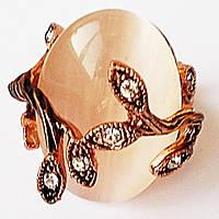 """Кольцо """"Графиня"""", позолота 18К. Камни вставки: кристаллы, кошачий глаз. Размеры 17, 19."""