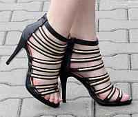 Стильные женские босоножки на шпильке черного цвета! Очень красивые!!, фото 1