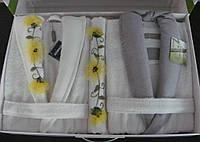 Набор 4 предмета, халаты и полотенца ARYA Бамбук c вышивкой Fiyonk 1351112