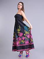Сарафан женский летний черный с яркими цветами, 42-56 р-ры