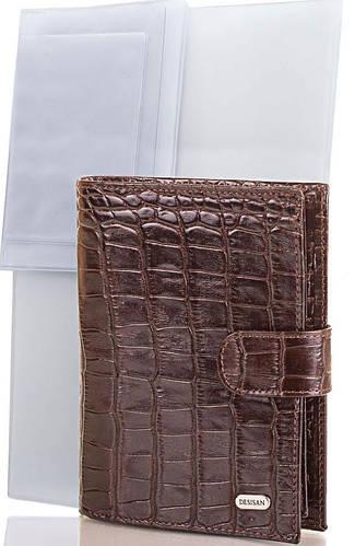 Мужской кожаный кошелек с органайзером для документов DESISAN (ДЕСИСАН) SHI072 коричневый