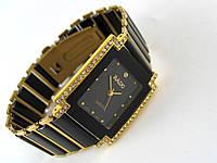 Мужские часы RADO, cristal, керамические, золотые счерным