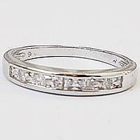 Кольцо с цирконами. Родиевое покрытие. Размеры 17, 18.