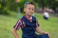 Рубашка красная клетка, короткий рукав, одежда для мальчиков 6-11 лет