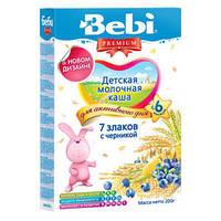 Молочная каша Bebi Premium (Беби Премиум) 7 злаков с черникой, 200 г
