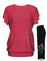 Женский летний костюм футболка-туника +капри - бриджи в расцветках , размеры 46-64