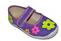 Детские летние тапочки для девочки на липучке (Цветочки)
