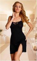 Сорочка женская эротическая черная на тонких бретелях, пеньюар Eldar GIULIA, ночная рубашка
