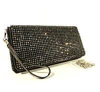 Вечерний клатч, сумочка Rose Heart  3211 черный с белыми стразами