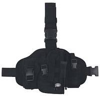 Пистолетная кабура  набедренная+платформа с доп. подсумками, черная