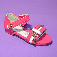 Босоножки летние лакированные для девочки, малиновый цвет.26,27 размер